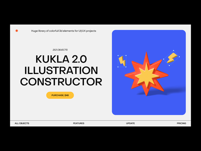 Kukla 2.0 (3d illustration and icons pack) menu blue yellow 3d icon 3d illustration blender ui web typography explosion 3d