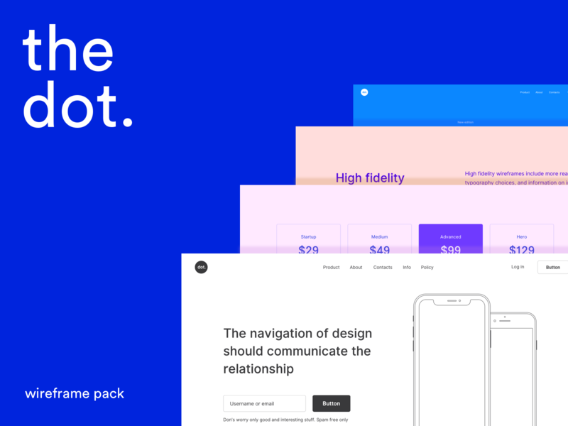 Alternative colors for new product userflow prototype ux colors prototyping landing features text pricing header wireframe