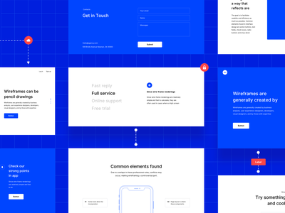 Wireframe pack contacts blue journey map userflow features landing ux prototype wireframe