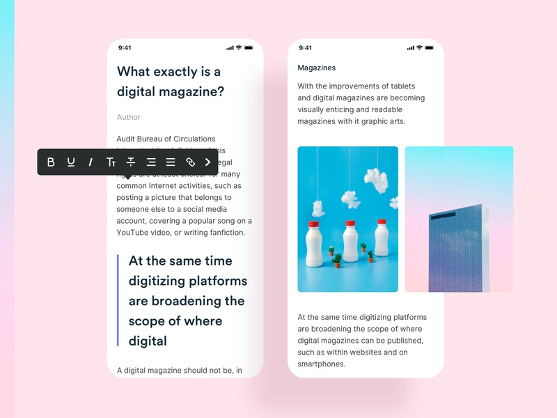 Mobile app ios rainbow pink clean carousel texture rich text gallery ui kit ux ui mobile