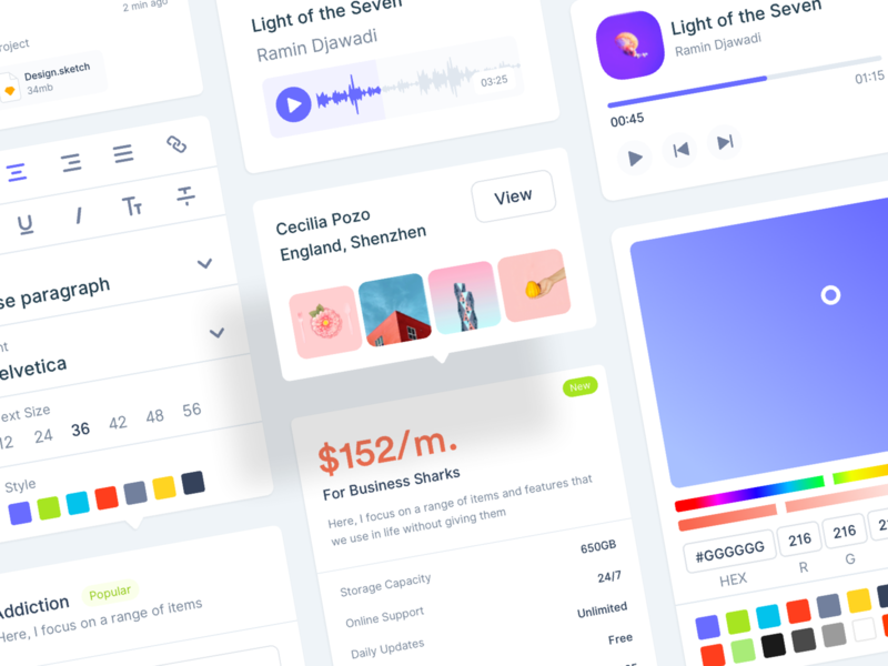 Starter Kit track ui kit pricing gallery dashboard color picker activity feed music player music audio player audio activity