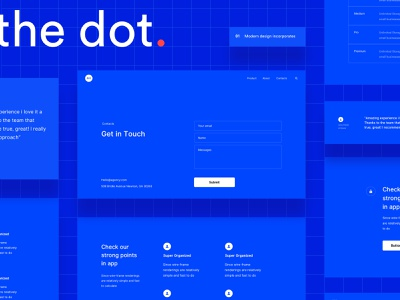 The Dot wireframe kit blue layout prototype pricing testimonials features contact wireframe