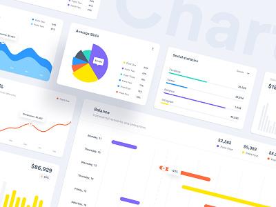 Charts ui kit freebee freebies stats analytics dashboard area chart line chart donut chart bar chart column chart statistic analytics charts