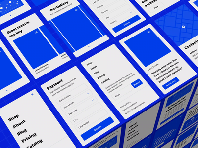Wireframe UI kit c4d transition animation header mobile features gallery prototype ui kit wireframe