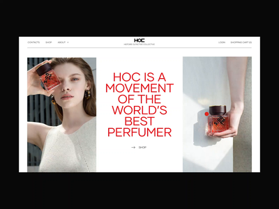 HOC parfume red typography layout subscribe header design mainpage transition animation interaction parfume store fashion ecommerce
