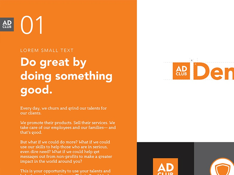 Denver Ad Club Re-Brand club vector typography white black orange denver identity rebrand freelance branding