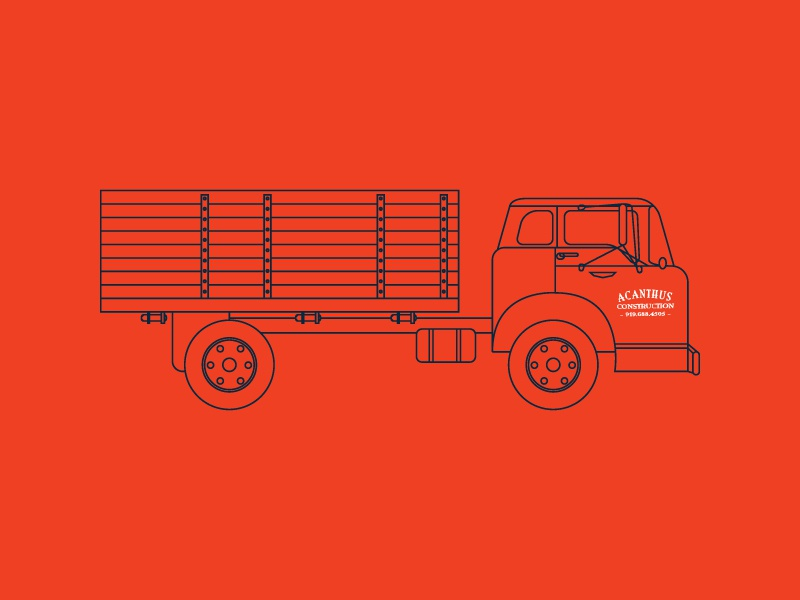 Truck Illos work vector line work old school construction typography durham tshirt illustration freelance branding