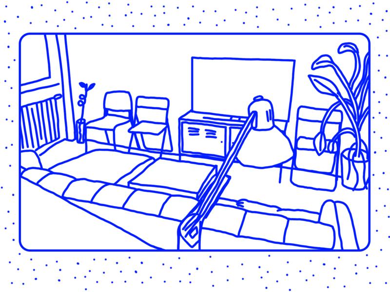 ODA illustration animation motion blue fun illustrator illustraion room