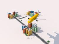 Plane on a City