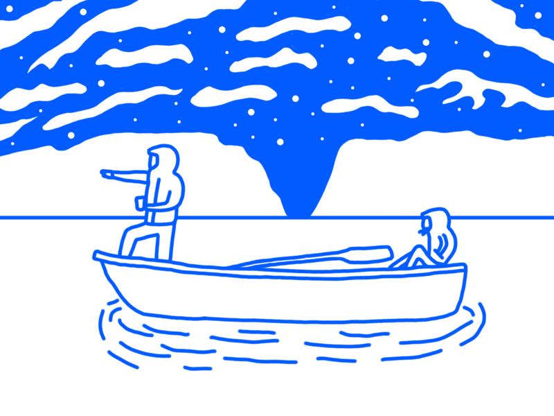 Aurora illustration animation illustrator design boat girl guy north aurora cold