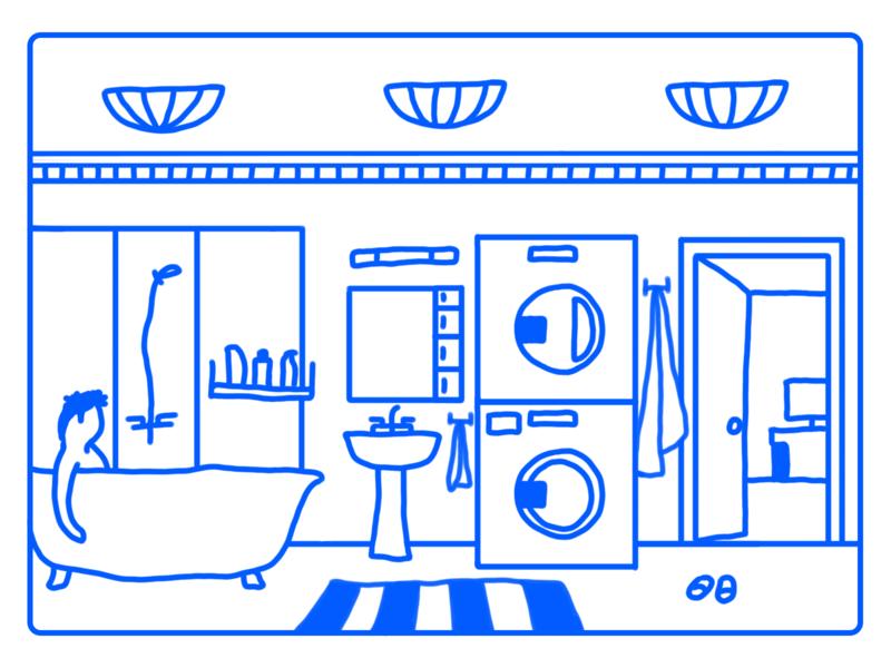 Bathroom motion animation design towel illustrator fun bathroom illustration