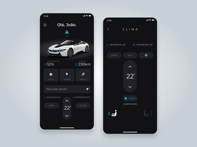 Car Control UI Concept gps location autonome automotive vehicle bmw temperature app air condition ux
