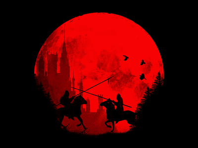 In the name of the king red warrior forest birds horse moon. nature battle. castle knight king