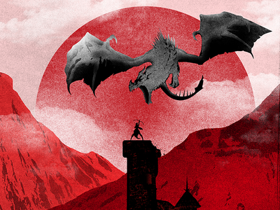 Guardian Of The Tower red archer sky nature sun mountain dragon tower guardian