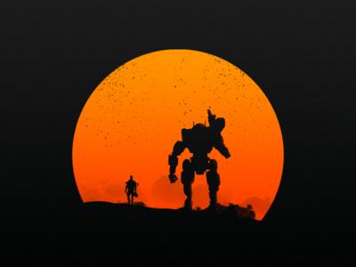 Pilot and Titan nerd orange war desert sunset sun soldier pilot titan game titanfall titanfall02