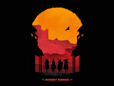 Sunset Riders nerd minimalist animal nature sun cowboy poster nintendo game riders sunset sunsetriders