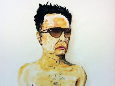 Kim with Glasses north korea watercolor portrait