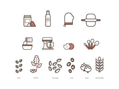 Icon design branding vector illustrator illustration design icondesign graphicdesign wheat germ yeast chia flaxs seed quinoa oats