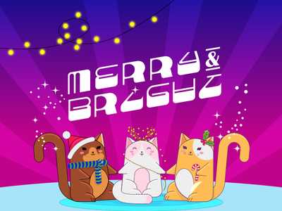 Merry and bright holidays happy christmas cat icon illustrator illustration letters design lettering graphicdesign vector