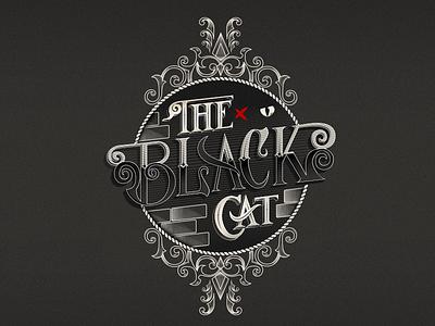 Black Cat edgarallanpoe vintage font victorianstyle blackcat labeldesign label logo cat typography illustrator illustration design letters graphicdesign vector