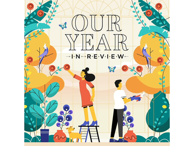 Annual Report Microsite motion graphics illustration lemonly michael mazourek mike mazoo flower greenhouse window dog butterfly plants foliage forest character animation