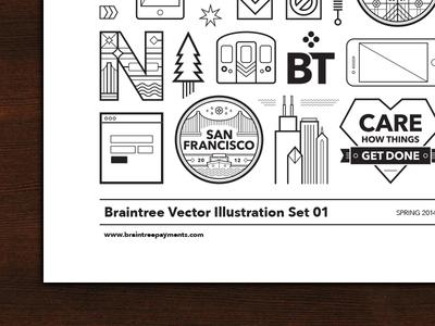Braintree Vector Illustration Set Poster