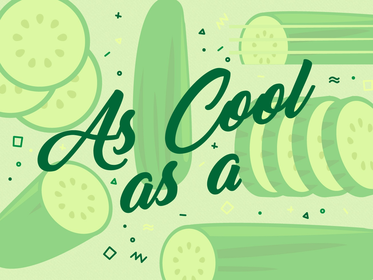 Cucumber freezing cool colors ice cold super cool slice gin and tonic wordmark lettering illustration cucumber cool