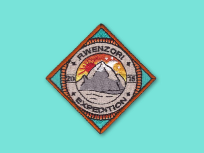 Badge patches backpack hiking design africa embroidery vector iconography illustration badge badges icon