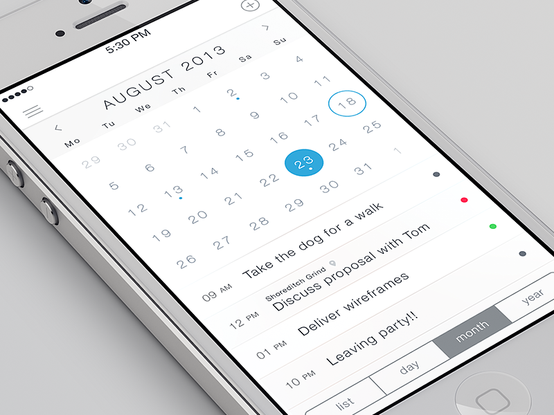 iOS7 Calendar App by Charles Patterson on Dribbble