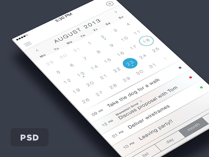 iOS7 Calendar PSD rebound ios7 ios ui calendar iphone clean minimal free psd freebie simple