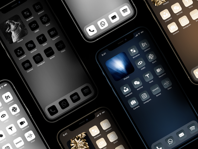 Monochrome Icons — Graphite, Gold, Silver, B&W & Midnight Blue iphone 12 icons