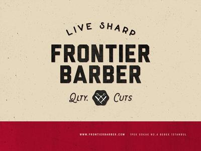 Frontier Barber shop barber branding logo