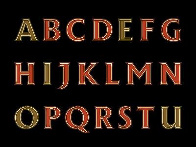 Neon Alphabet lettering neon allvector