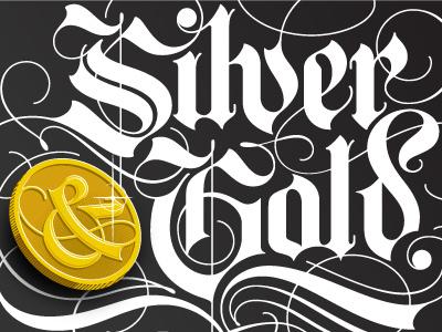 Silver & Gold Invert lettering hand lettering blackletter