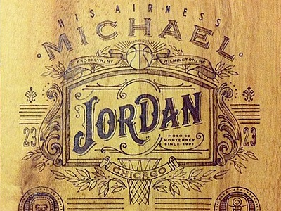 MJ 50th Cigars lettering handlettering pyrography michael jordan