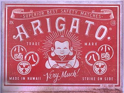 Arigato Matches lettering script serif matches hand lettering new vintage