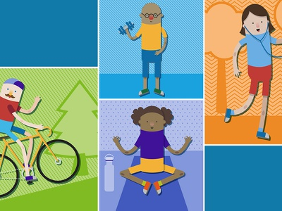 Illustration yoga biking exercise people healthy vector illustration
