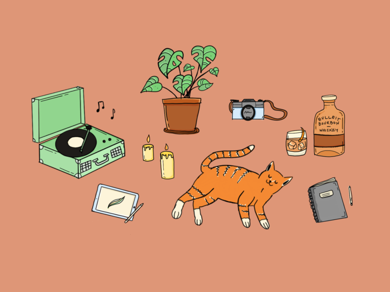 Quarantine & Chill chill vibes chill quarantine film camera graphic design procreate illustration orange tabby bourbon houseplant vinyl record procreate illustration