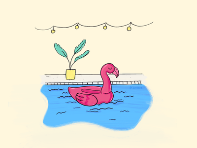 Pool vibes illustration swimming pool poolside flamingo float pool vibe summer flamingo pool float