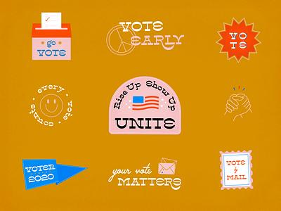 Vote 2020 unite solidarity vote by mail vote early illustration visual design voter every vote counts voting vote vote 2020 i voted