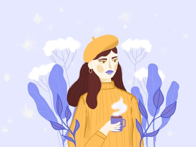 Brr. It's cold outside tyymes cold weather coffee procreate dtiys tyymes18k girl in beret design illustration