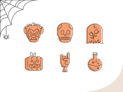 Spooky Halloween Icons halloween icons scary illustration october icons spider potion zombie hand pumpkin tombstone skull werewolf spooky halloween