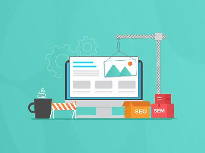 SEM Website Rebrand marketing seo sem illustration visual design construction website