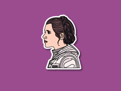 Princess Leia Sticker illustration sticker pop culture harrison ford hoth han solo star wars princes leia carrie fisher