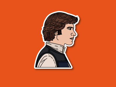 Han Solo Sticker harrison ford hoth pop culture princess leia carrie fisher star wars sticker han solo illustration