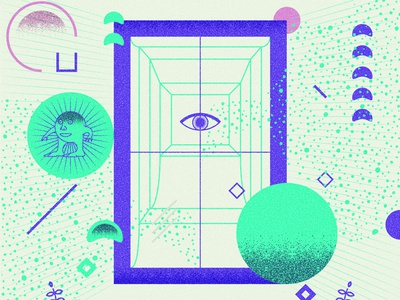 Portal of transcendence wisdom magic design ui shape vector illustration portal meme surreal orang