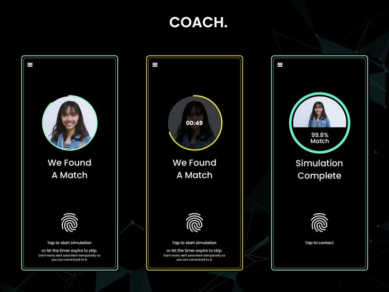 Coach - Black Mirror Inspired Dating App ui uiux design quantum computing dating app movie tech futuristic future dating datingapp uxui movie ux app blackmirror