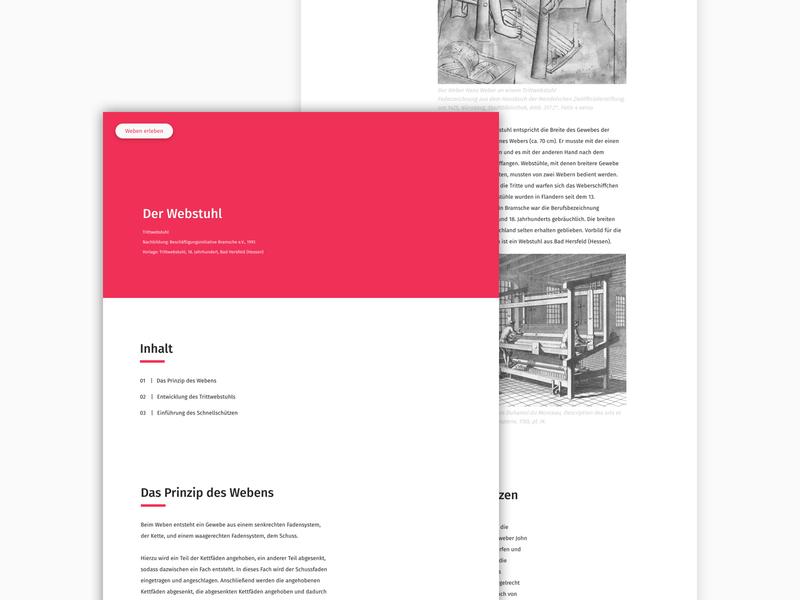 Museum UI clean minimal museum interface knowledge red waeving cloth
