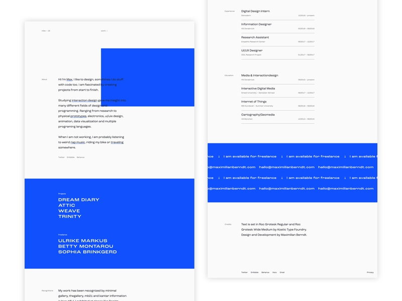 mbe2019_light website design clean minimal ui light maximilian max blue porfolio