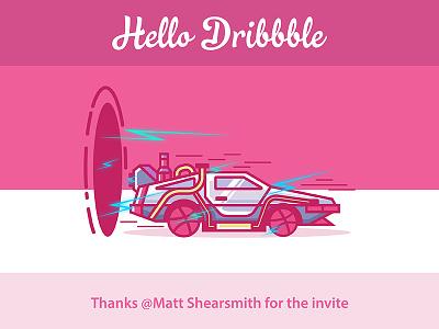 Hello Dribbble! back to the future logo invite dribbble hello marty delorean